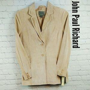 JohnPaulRichard Tan Washable Suede Uniform Jacket